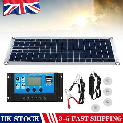 30W 12V Dual USB Solar Panel Flexible Battery Charger Kit Car 40A Controller • 26.90£