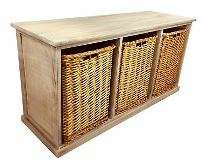 Solid Wooden Storage Seat Bench 3 Large Wicker Baskets Rustic Sturdy Chest 101cm • 99.88£