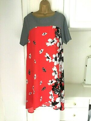 Twiggy For M&S Size Uk 18 Unlined Floral Print High Low Dress In Vg Con Bust 45  • 16.99£