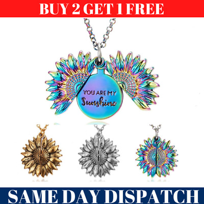 New You Are My Sunshine Open Locket Sunflower Pendant Necklace Jewelry Gifts UK • 3.29£