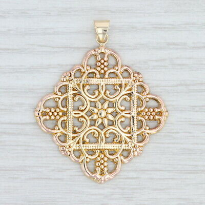 $200 • Buy Ornate Floral Statement Pendant 14k Yellow Gold Milor Italy Openwork