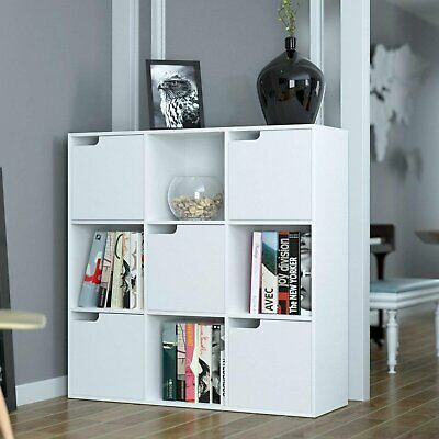£57.99 • Buy 9 Cube White Wooden Bookcase Shelving Display Shelf Storage Unit With White Door
