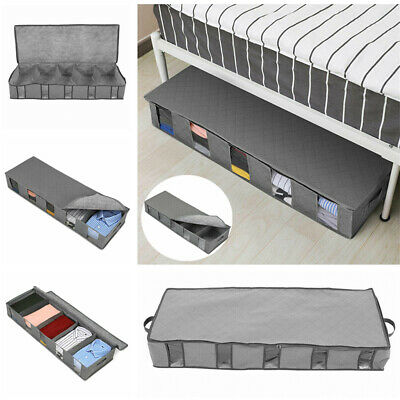 Large Capacity Under Bed Storage Bag Box 5 Compartments Clothes Organizer Grey. • 5.17£