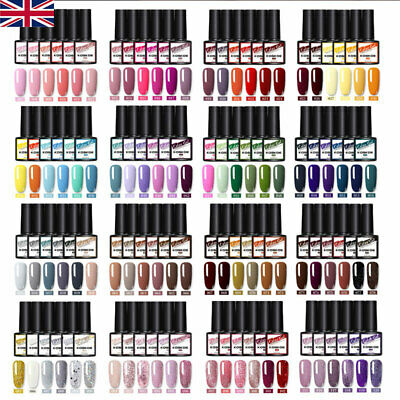 KOSKOE 6 Bottles Combo Set UV Gel Nail Polish Glitter Nail Varnish Pink Red 8ml • 11.99£