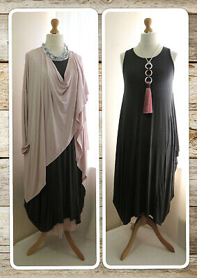 Bnwt, Quirky Lagenlook, Charcoal Grey, Jersey, Balloon Dress, Draped Sides, Osfa • 20.99£