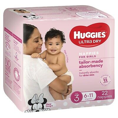 AU13.64 • Buy Huggies Ultra Dry Nappies - Size 3 Crawler Girl (22)
