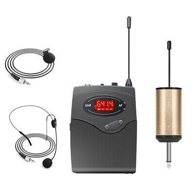 Wireless Microphone System,Wireless Microphone Set With Headset & Lavalier  H5N7 • 17.99£