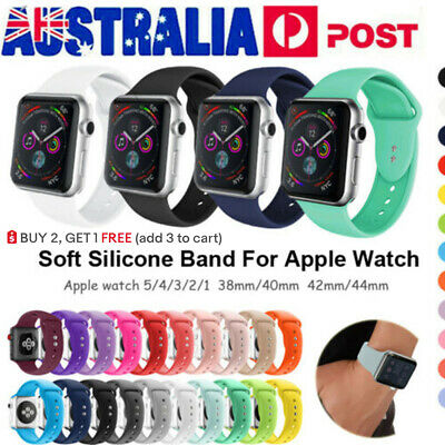 AU9.99 • Buy 40mm 44mm Silicone Sports IWatch Band Strap For Apple Watch Series 6 5 4 3 2 SE