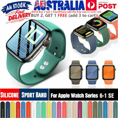 AU9.99 • Buy Silicone Sports IWatch Band Strap For Apple Watch Series 5 4 3 2 40/44mm 38/42mm