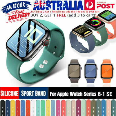 AU9.49 • Buy Silicone Sports IWatch Band Strap For Apple Watch Series 5 4 3 2 40/44mm 38/42mm
