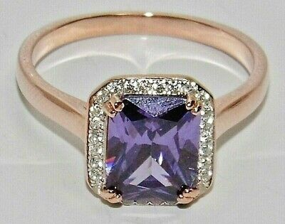 £25 • Buy 9ct Rose Gold On Silver Amethyst & Diamond Ladies Ring - All Sizes