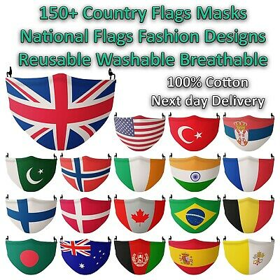 Country Flag Face Mask Reusable Washable Breathable World Flags Handmade Lot • 6.99£