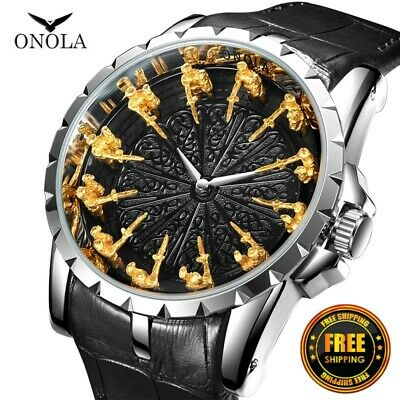 $ CDN44.73 • Buy ONOLA Gold Luxury 12 Knight Dress Business Men's Watches EXCALIBUR Quartz Watch