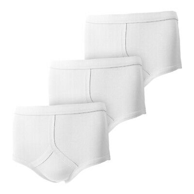 Mens 100% Cotton Y Fronts Underpants Briefs Underwear WHITE S M L XL XXL • 6.45£
