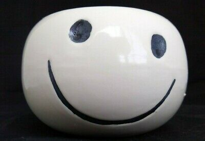 $12.99 • Buy Vintage MCM Haeger Pottery Gloss White Smiley Face Round Planter #370~ 4.75