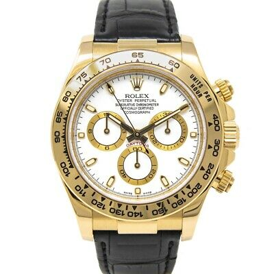 $ CDN27766.95 • Buy Rolex Men's Daytona Yellow Gold 116518 - Black Leather Strap, White Dial