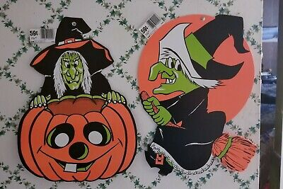 $ CDN13.20 • Buy 2big Vintage New-old-stock Djb Halloween Cutouts 1witch+1witch+jack-o-lantern🎃!