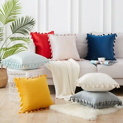 UK 45x45cm Luxury Candy Color Velvet Cushion Cover Soft Pillowcase With Tassel • 5.44£