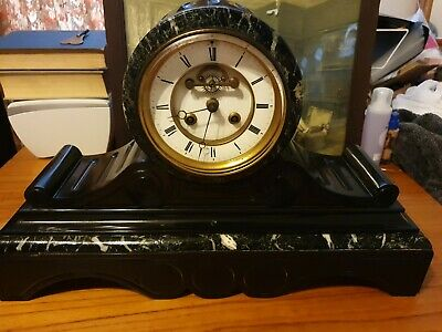 Antique French Victorian Marble And Slate Mantle Clock Stamped G.V. Cca 1860 • 600£