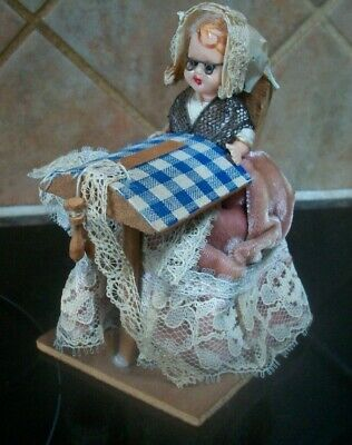 Vintage Tableau The Lace Maker Hard Plastic Doll Lace Making 4  Suit Doll House  • 9.99£