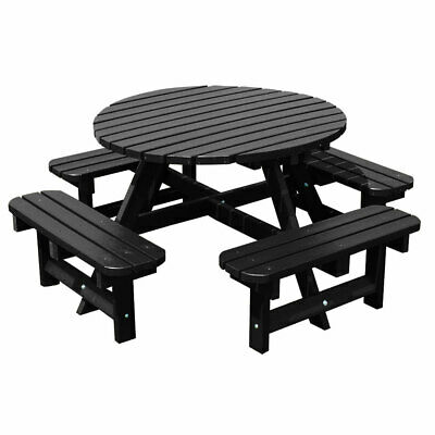 NBB Recycled Heavy Duty Round Picnic Table - Black • 879.99£