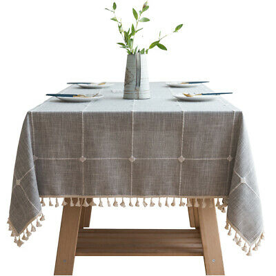 UK Cotton Linen Plaid Tablecloth With Tassel Rectangle Table Cloth Dust Cover • 13.88£