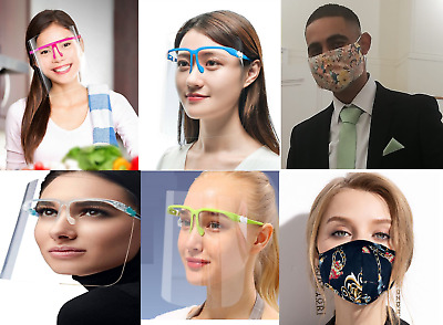 Face Shield With Glasses Glass Visor Mask Ppe Shield Transparent Clear Plastic • 4.99£