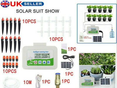 Solar Automatic Drip Irrigation System Kit Garden Plant Auto Timer Watering Pipe • 30.89£