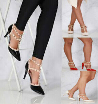 Ladies Studded Strappy High Heel Pointed Toe Evening Party Shoes Sizes 3-8 • 22.99£