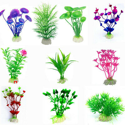 10x Fish Tank Plants Artificial Fake Aquarium Aquatic Decoration Ornament Flower • 4.99£
