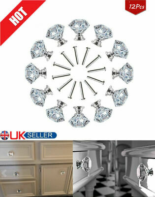 12Pcs Clear Diamond Crystal Glass Door Knobs Drawer Wardrobe Cabinet Handles • 8.89£