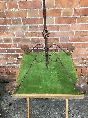 Large Antique Gothic Wrought Iron Candle Holder Candelabra Chandelier No 2 • 79.99£
