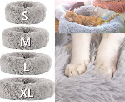 S-XL Large Dog Cat Pet Calming Nest Pad Washable Plush Donut Bed Kennel Cushion • 21.99£