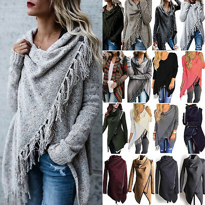 £11.30 • Buy Womens Tassel Cardigan Knitted Sweater Ladies Poncho Shawl Coat Outwear Tops New