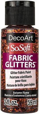 SoSoft Fabric Glitters Acrylic Paint 2oz-Autumn Flame - Orange -DSSFG2OZ-09 • 8.01£