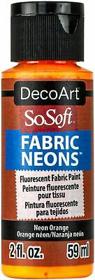 SoSoft Fabric Neons Acrylic Paint 2oz-Neon Orange -DSSFN2OZ-60 • 8.01£