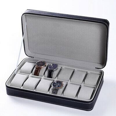 $ CDN45.44 • Buy 12 Slot Zipper Watch Box Storage Display Case Pu Leather Portable Organizer Bag
