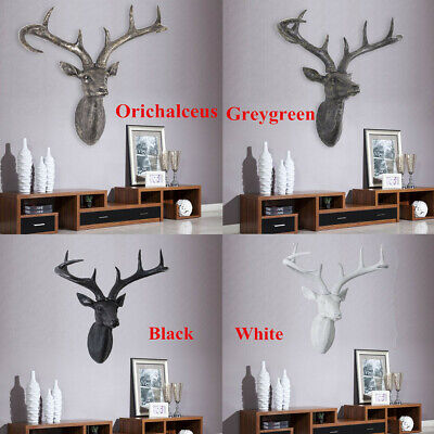 £27.99 • Buy L/XL Wall Mounted Stag Head Deer Antlers Chic Resin 3D Wall Art Hanging Decor UK