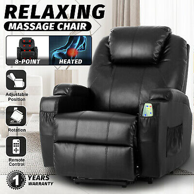 AU629.90 • Buy Recliner Lift Heated Chair Electric Massage Chair Lounge Sofa Leather Seat Black