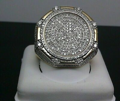 $148.38 • Buy Mens Diamond Engagement Pinky Ring Yellow Gold Finish 3.00 Ct Round Pave Band