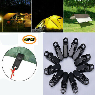 12pcs Awning Clamp Tarp Clips Snap Hangers Tent Camping Survival Tighten Tool UK • 3.78£