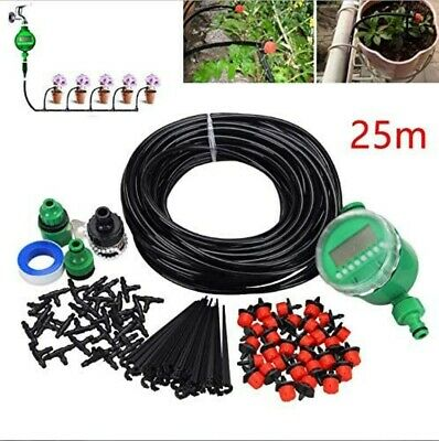 Automatic Drip Irrigation System Plant Timer Self Watering Garden 25M Hose Tool • 18.98£