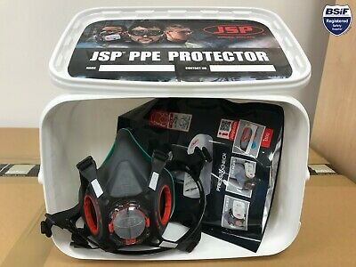 JSP Bundle - Force 8 Press To Check Mask LARGE, P3 Filters, PPE Container • 32.95£