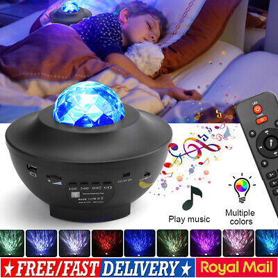 Star Projector Night Light Music Bluetooth Galaxy Ocean Wave LED Lamp W/Remote • 19.95£