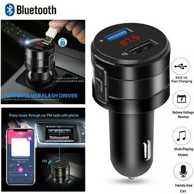 Bluetooth 5.0 Car Kit FM Transmitter USB Charger Adapter Stereo Bass MP3 Player! • 6.28£