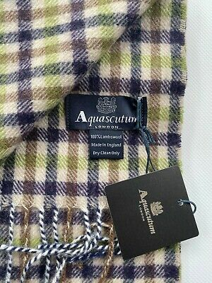 AQUASCUTUM SCARF BRAND NEW WITH TAGS LAMBSWOOL Green And Heather • 32.99£