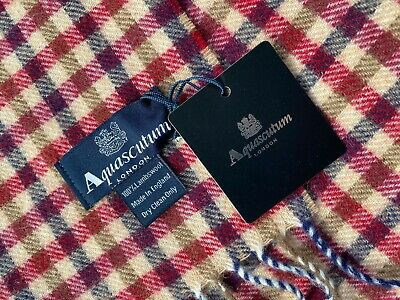 Aquascutum Scarf Brand New With Tags Lambswool Red & Chocolate • 32.99£
