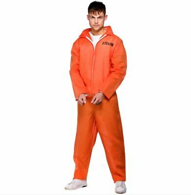NEW Orange Convict Jumpsuit - Prisoner Men's Prison Fancy Dress Costume • 14.99£