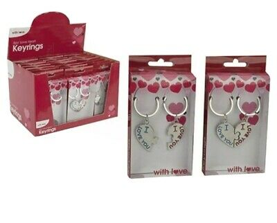 VALENTINES DAY ROMANTIC GIFTS For His Her Love Heart I Love You Couple Key Ring • 2.99£
