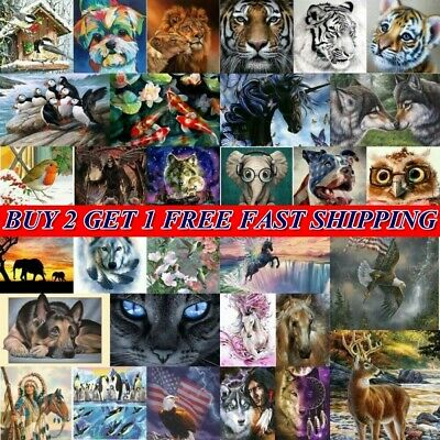 AU16.99 • Buy DIY 5D Diamond Painting Full Drill Embroidery Crafts Kit Animal Wolf Home Decor